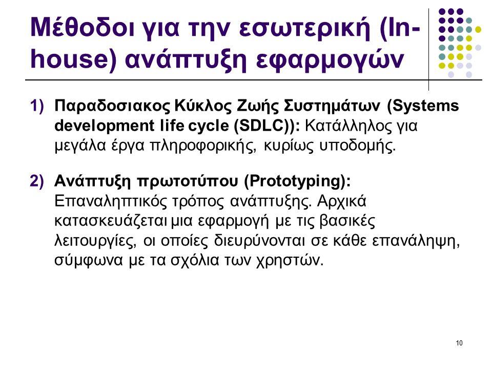 Μέθοδοι για την εσωτερική (In- house) ανάπτυξη εφαρμογών 1)Παραδοσιακος Κύκλος Ζωής Συστημάτων (Systems development life cycle (SDLC)): Κατάλληλος για μεγάλα έργα πληροφορικής, κυρίως υποδομής.