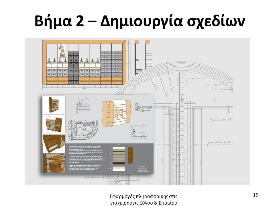 Βήμα 2 – Δημιουργία σχεδίων Εφαρμογές πληροφορικής στις επιχειρήσεις Ξύλου & Επίπλου 19