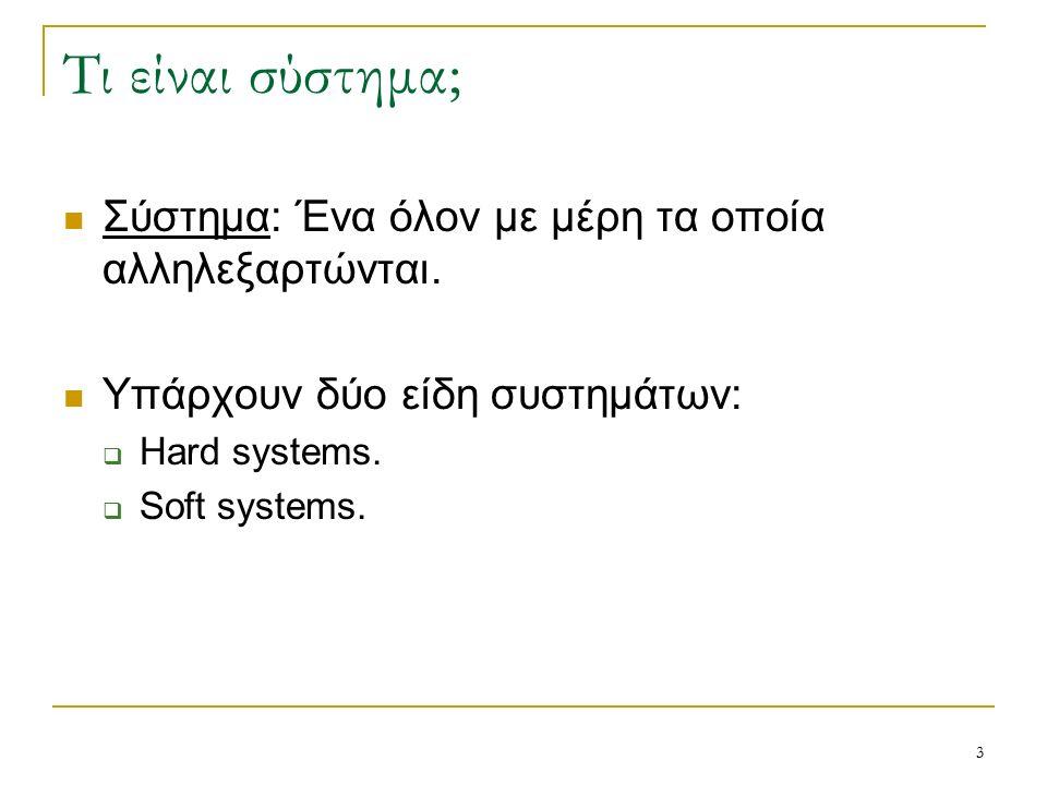 3 Τι είναι σύστημα; Σύστημα: Ένα όλον με μέρη τα οποία αλληλεξαρτώνται.