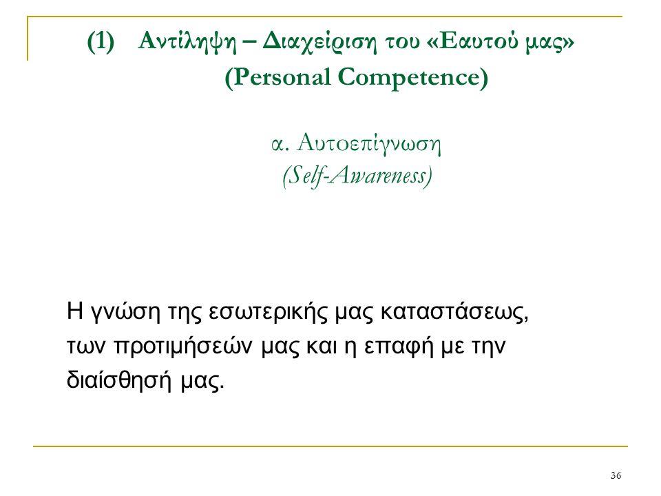 36 (1)Αντίληψη – Διαχείριση του «Εαυτού μας» (Personal Competence) α.