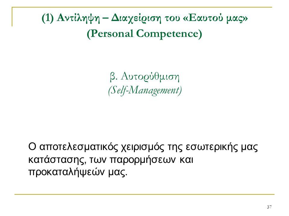 37 (1) Αντίληψη – Διαχείριση του «Εαυτού μας» (Personal Competence) β.
