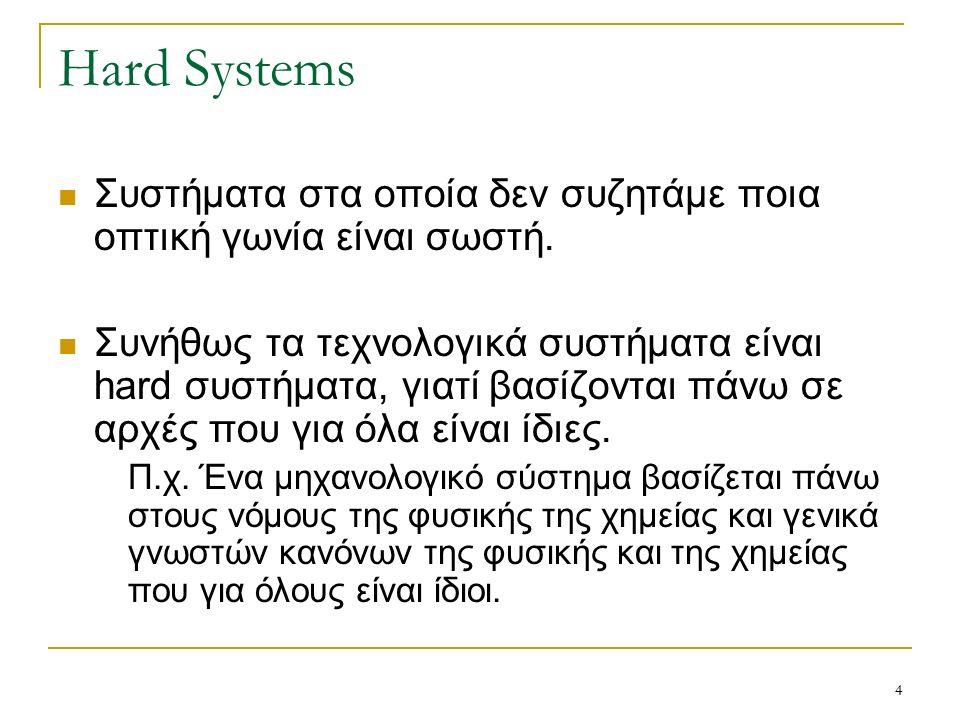 4 Hard Systems Συστήματα στα οποία δεν συζητάμε ποια οπτική γωνία είναι σωστή.