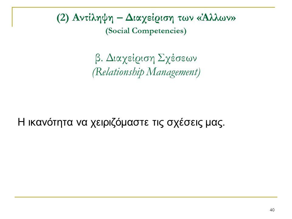 40 (2) Αντίληψη – Διαχείριση των «Άλλων» (Social Competencies) β.
