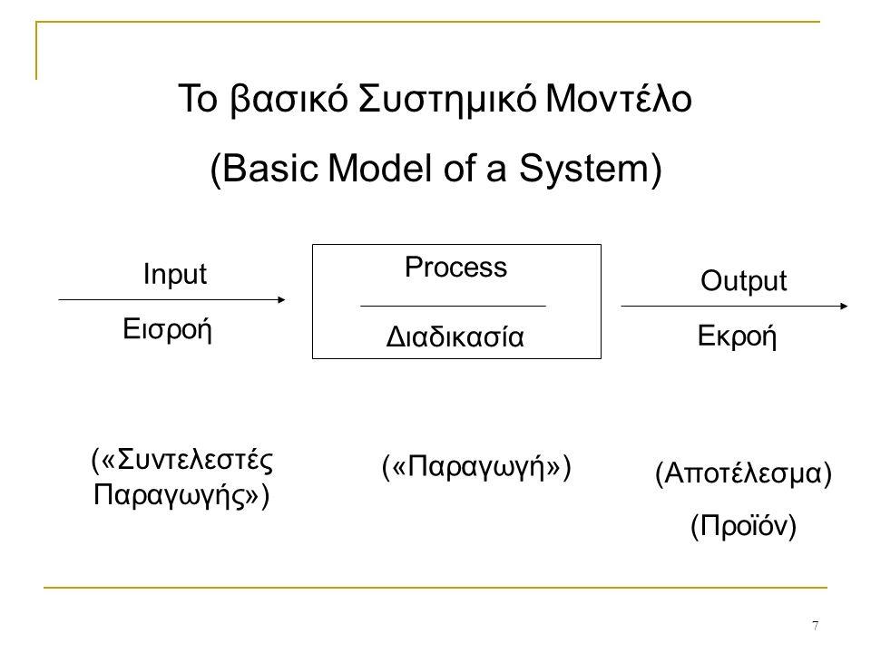 7 Το βασικό Συστημικό Μοντέλο (Basic Model of a System) Input Εισροή Process Διαδικασία Output Εκροή («Συντελεστές Παραγωγής») («Παραγωγή») (Αποτέλεσμα) (Προϊόν)