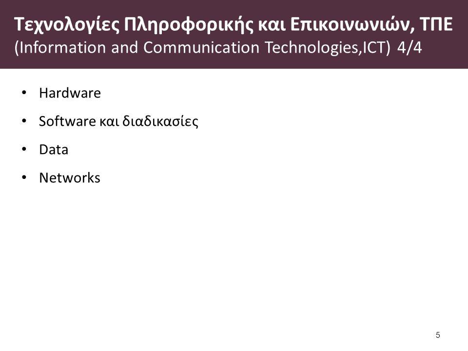 Τεχνολογίες Πληροφορικής και Επικοινωνιών, ΤΠΕ (Information and Communication Technologies,ICT) 4/4 Hardware Software και διαδικασίες Data Networks 5