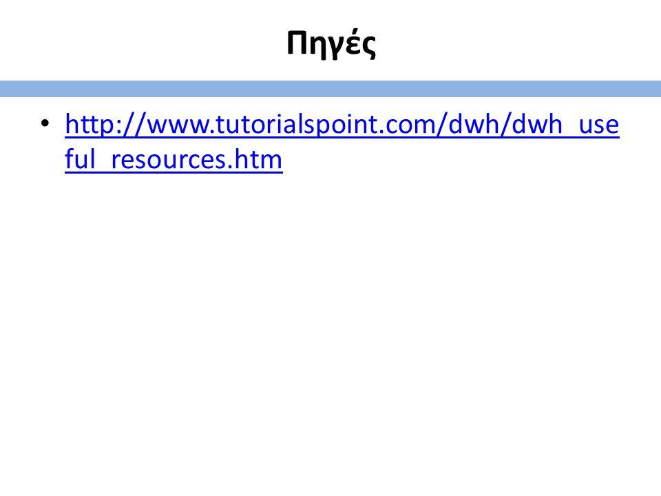 Πηγές http://www.tutorialspoint.com/dwh/dwh_use ful_resources.htm http://www.tutorialspoint.com/dwh/dwh_use ful_resources.htm