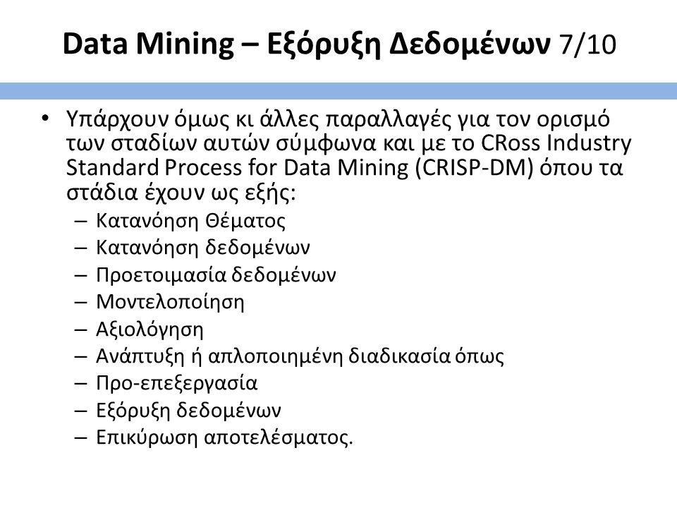 Data Mining – Εξόρυξη Δεδομένων 7/10 Υπάρχουν όμως κι άλλες παραλλαγές για τον ορισμό των σταδίων αυτών σύμφωνα και με το CRoss Industry Standard Process for Data Mining (CRISP-DM) όπου τα στάδια έχουν ως εξής: – Κατανόηση Θέματος – Κατανόηση δεδομένων – Προετοιμασία δεδομένων – Μοντελοποίηση – Αξιολόγηση – Ανάπτυξη ή απλοποιημένη διαδικασία όπως – Προ-επεξεργασία – Εξόρυξη δεδομένων – Επικύρωση αποτελέσματος.