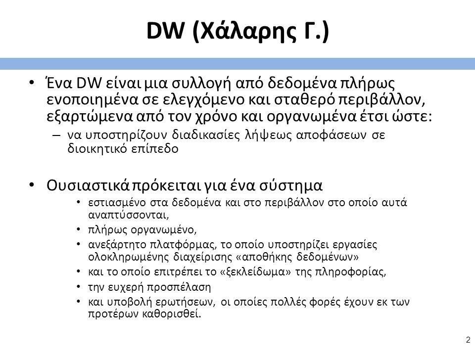DW (Χάλαρης Γ.) Ένα DW είναι μια συλλογή από δεδομένα πλήρως ενοποιημένα σε ελεγχόμενο και σταθερό περιβάλλον, εξαρτώμενα από τον χρόνο και οργανωμένα