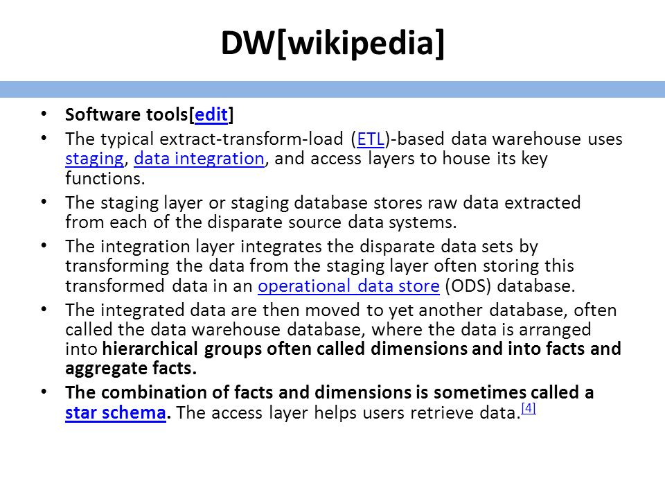 DW 1/3 This definition of the data warehouse focuses on data storage.