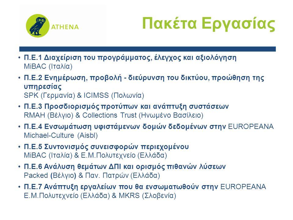 Π.Ε.1 Διαχείριση του προγράμματος, έλεγχος και αξιολόγηση MiBAC (Ιταλία) Π.Ε.2 Ενημέρωση, προβολή - διεύρυνση του δικτύου, προώθηση της υπηρεσίας SPK (Γερμανία) & ICIMSS (Πολωνία) Π.Ε.3 Προσδιορισμός προτύπων και ανάπτυξη συστάσεων RMAH (Βέλγιο) & Collections Trust (Ηνωμένο Βασίλειο) Π.Ε.4 Ενσωμάτωση υφιστάμενων δομών δεδομένων στην EUROPEANA Michael-Culture (Aisbl) Π.Ε.5 Συντονισμός συνεισφορών περιεχομένου MiBAC (Ιταλία) & Ε.Μ.Πολυτεχνείο (Ελλάδα) Π.Ε.6 Ανάλυση θεμάτων ΔΠΙ και ορισμός πιθανών λύσεων Packed (Βέλγιο) & Παν.