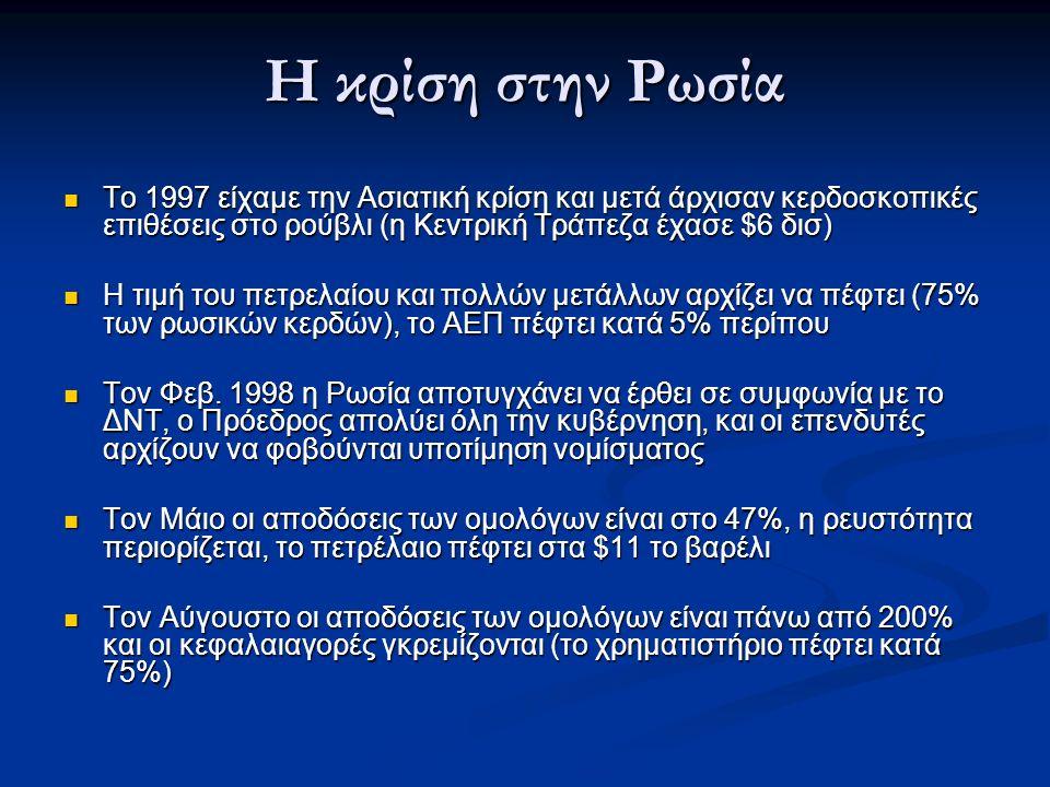 Η κρίση στην Ρωσία Το 1997 είχαμε την Ασιατική κρίση και μετά άρχισαν κερδοσκοπικές επιθέσεις στο ρούβλι (η Κεντρική Τράπεζα έχασε $6 δισ) Το 1997 είχαμε την Ασιατική κρίση και μετά άρχισαν κερδοσκοπικές επιθέσεις στο ρούβλι (η Κεντρική Τράπεζα έχασε $6 δισ) Η τιμή του πετρελαίου και πολλών μετάλλων αρχίζει να πέφτει (75% των ρωσικών κερδών), το ΑΕΠ πέφτει κατά 5% περίπου Η τιμή του πετρελαίου και πολλών μετάλλων αρχίζει να πέφτει (75% των ρωσικών κερδών), το ΑΕΠ πέφτει κατά 5% περίπου Τον Φεβ.