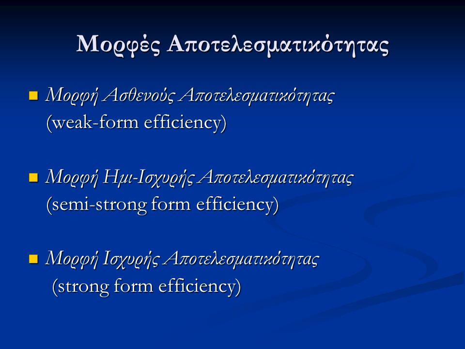 Μορφές Αποτελεσματικότητας Μορφή Ασθενούς Αποτελεσματικότητας Μορφή Ασθενούς Αποτελεσματικότητας (weak-form efficiency) Μορφή Ημι-Ισχυρής Αποτελεσματικότητας Μορφή Ημι-Ισχυρής Αποτελεσματικότητας (semi-strong form efficiency) Μορφή Ισχυρής Αποτελεσματικότητας Μορφή Ισχυρής Αποτελεσματικότητας (strong form efficiency)