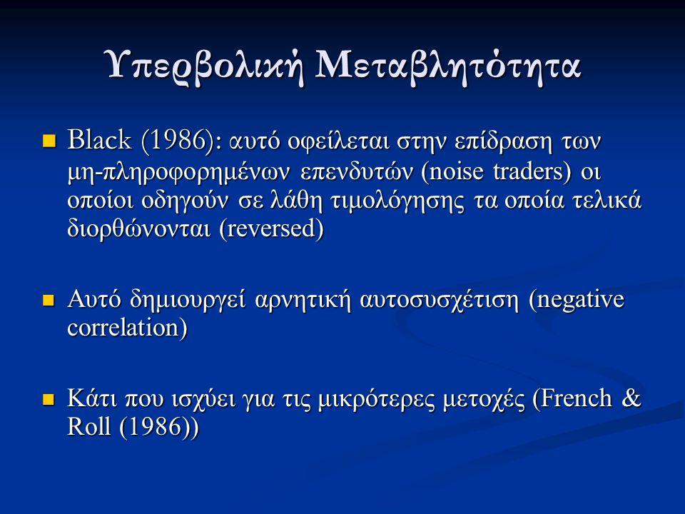 Υπερβολική Μεταβλητότητα Black (1986): α υτό οφείλεται στην επίδραση των μη-πληροφορημένων επενδυτών (noise traders) οι οποίοι οδηγούν σε λάθη τιμολόγησης τα οποία τελικά διορθώνονται (reversed) Black (1986): α υτό οφείλεται στην επίδραση των μη-πληροφορημένων επενδυτών (noise traders) οι οποίοι οδηγούν σε λάθη τιμολόγησης τα οποία τελικά διορθώνονται (reversed) Αυτό δημιουργεί αρνητική αυτοσυσχέτιση (negative correlation) Αυτό δημιουργεί αρνητική αυτοσυσχέτιση (negative correlation) Κάτι που ισχύει για τις μικρότερες μετοχές (French & Roll (1986)) Κάτι που ισχύει για τις μικρότερες μετοχές (French & Roll (1986))