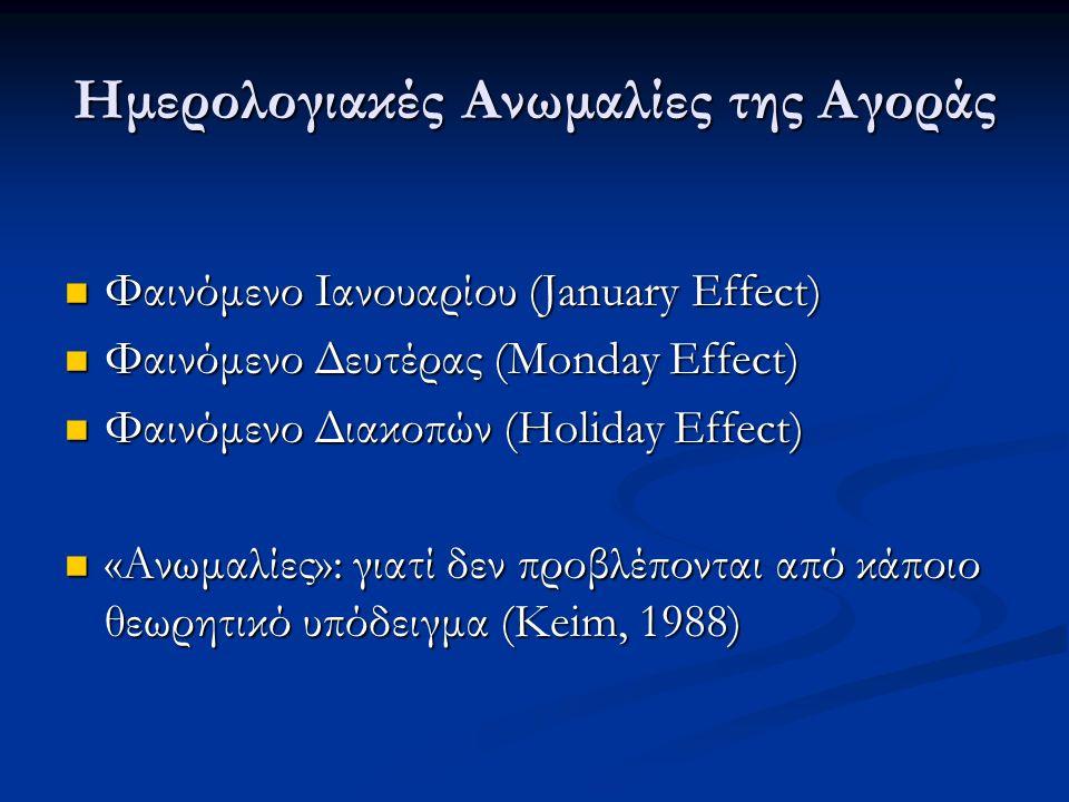 Ημερολογιακές Ανωμαλίες της Αγοράς Φαινόμενο Ιανουαρίου (January Effect) Φαινόμενο Ιανουαρίου (January Effect) Φαινόμενο Δευτέρας (Monday Effect) Φαινόμενο Δευτέρας (Monday Effect) Φαινόμενο Διακοπών (Holiday Effect) Φαινόμενο Διακοπών (Holiday Effect) «Ανωμαλίες»: γιατί δεν προβλέπονται από κάποιο θεωρητικό υπόδειγμα (Keim, 1988) «Ανωμαλίες»: γιατί δεν προβλέπονται από κάποιο θεωρητικό υπόδειγμα (Keim, 1988)