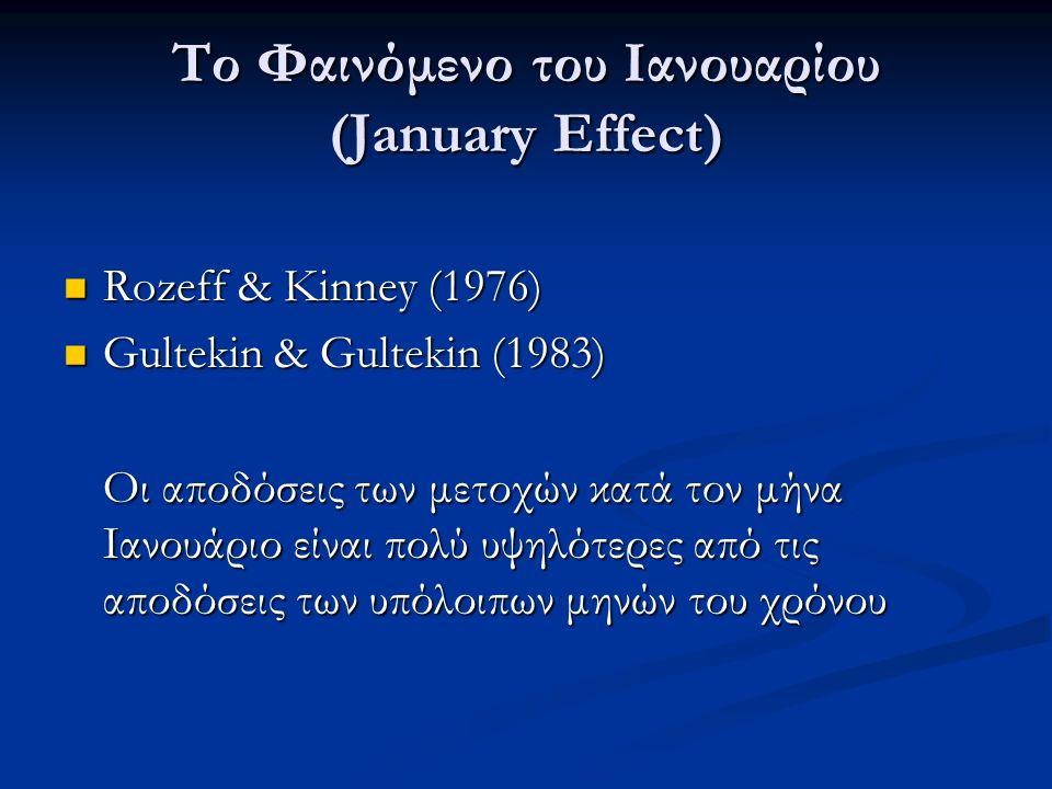 Το Φαινόμενο του Ιανουαρίου (January Effect) Rozeff & Kinney (1976) Rozeff & Kinney (1976) Gultekin & Gultekin (1983) Gultekin & Gultekin (1983) Οι αποδόσεις των μετοχών κατά τον μήνα Ιανουάριο είναι πολύ υψηλότερες από τις αποδόσεις των υπόλοιπων μηνών του χρόνου