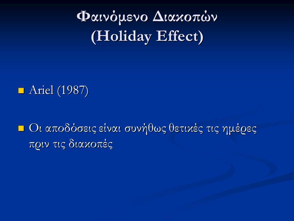 Φαινόμενο Διακοπών (Holiday Effect) Ariel (1987) Ariel (1987) Οι αποδόσεις είναι συνήθως θετικές τις ημέρες πριν τις διακοπές Οι αποδόσεις είναι συνήθως θετικές τις ημέρες πριν τις διακοπές