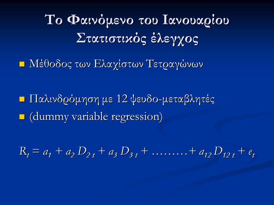 Το Φαινόμενο του Ιανουαρίου Στατιστικός έλεγχος Μέθοδος των Ελαχίστων Τετραγώνων Μέθοδος των Ελαχίστων Τετραγώνων Παλινδρόμηση με 12 ψευδο-μεταβλητές Παλινδρόμηση με 12 ψευδο-μεταβλητές (dummy variable regression) (dummy variable regression) R t = a 1 + a 2 D 2 t + a 3 D 3 t + ………+ a 12 D 12 t + e t