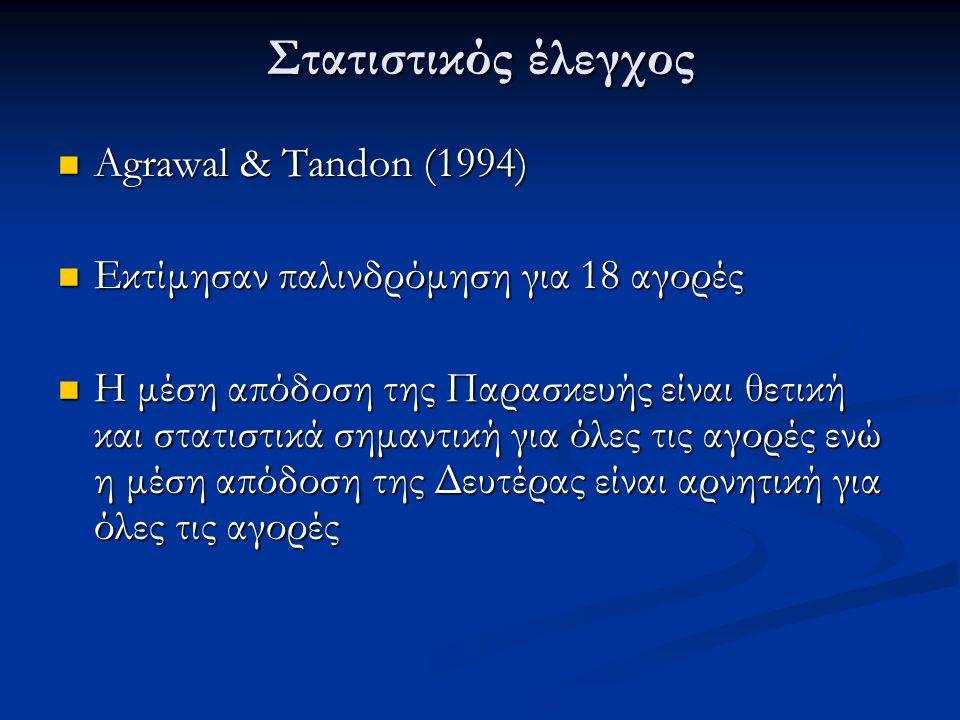 Στατιστικός έλεγχος Agrawal & Tandon (1994) Agrawal & Tandon (1994) Εκτίμησαν παλινδρόμηση για 18 αγορές Εκτίμησαν παλινδρόμηση για 18 αγορές Η μέση απόδοση της Παρασκευής είναι θετική και στατιστικά σημαντική για όλες τις αγορές ενώ η μέση απόδοση της Δευτέρας είναι αρνητική για όλες τις αγορές Η μέση απόδοση της Παρασκευής είναι θετική και στατιστικά σημαντική για όλες τις αγορές ενώ η μέση απόδοση της Δευτέρας είναι αρνητική για όλες τις αγορές