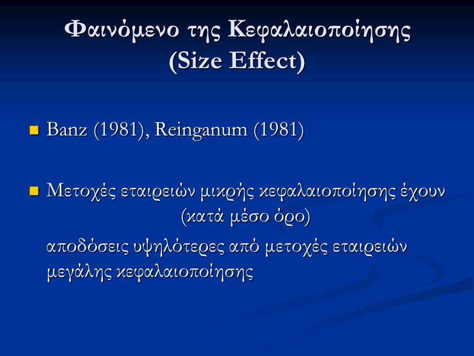 Φαινόμενο της Κεφαλαιοποίησης (Size Effect) Banz (1981), Reinganum (1981) Banz (1981), Reinganum (1981) Μετοχές εταιρειών μικρής κεφαλαιοποίησης έχουν (κατά μέσο όρο) Μετοχές εταιρειών μικρής κεφαλαιοποίησης έχουν (κατά μέσο όρο) αποδόσεις υψηλότερες από μετοχές εταιρειών μεγάλης κεφαλαιοποίησης