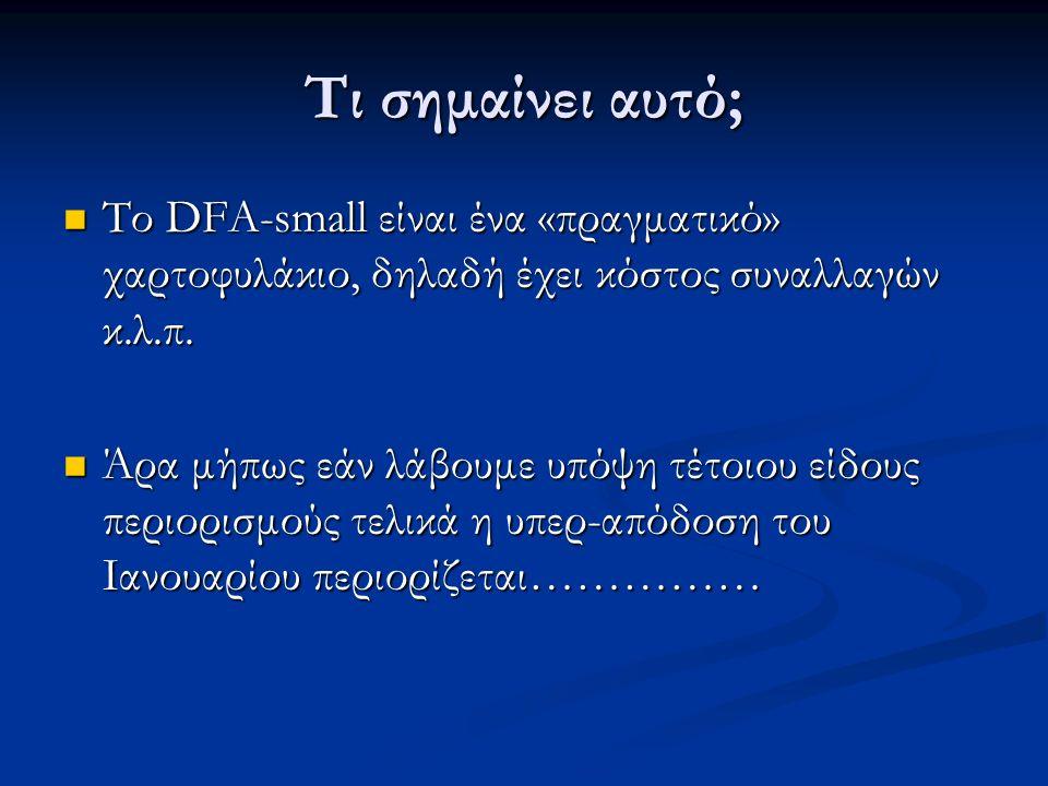 Τι σημαίνει αυτό; Το DFA-small είναι ένα «πραγματικό» χαρτοφυλάκιο, δηλαδή έχει κόστος συναλλαγών κ.λ.π.