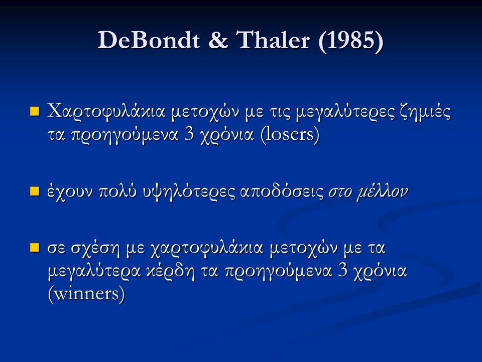 DeBondt & Thaler (1985) Χαρτοφυλάκια μετοχών με τις μεγαλύτερες ζημιές τα προηγούμενα 3 χρόνια (losers) Χαρτοφυλάκια μετοχών με τις μεγαλύτερες ζημιές τα προηγούμενα 3 χρόνια (losers) έχουν πολύ υψηλότερες αποδόσεις στο μέλλον έχουν πολύ υψηλότερες αποδόσεις στο μέλλον σε σχέση με χαρτοφυλάκια μετοχών με τα μεγαλύτερα κέρδη τα προηγούμενα 3 χρόνια (winners) σε σχέση με χαρτοφυλάκια μετοχών με τα μεγαλύτερα κέρδη τα προηγούμενα 3 χρόνια (winners)