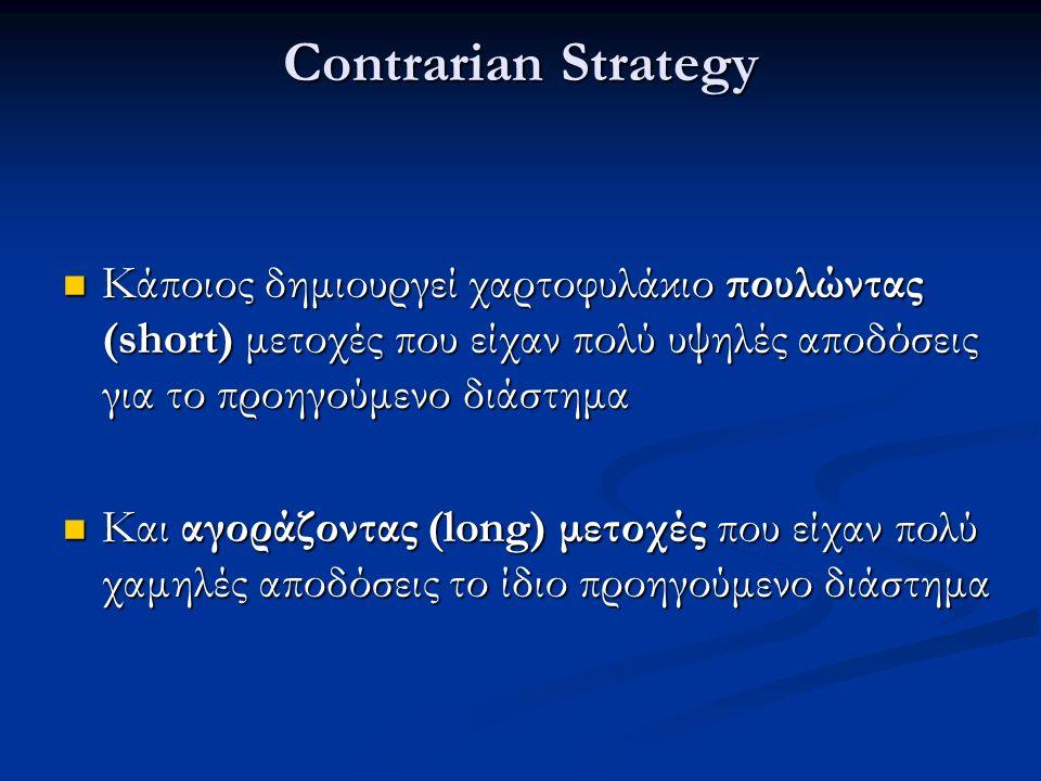 Contrarian Strategy Κάποιος δημιουργεί χαρτοφυλάκιο πουλώντας (short) μετοχές που είχαν πολύ υψηλές αποδόσεις για το προηγούμενο διάστημα Κάποιος δημιουργεί χαρτοφυλάκιο πουλώντας (short) μετοχές που είχαν πολύ υψηλές αποδόσεις για το προηγούμενο διάστημα Και αγοράζοντας (long) μετοχές που είχαν πολύ χαμηλές αποδόσεις το ίδιο προηγούμενο διάστημα Και αγοράζοντας (long) μετοχές που είχαν πολύ χαμηλές αποδόσεις το ίδιο προηγούμενο διάστημα