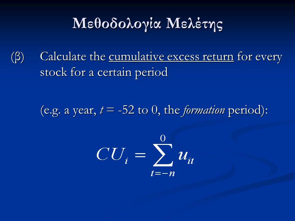 Μεθοδολογία Μελέτης (β) Calculate the cumulative excess return for every stock for a certain period (e.g.