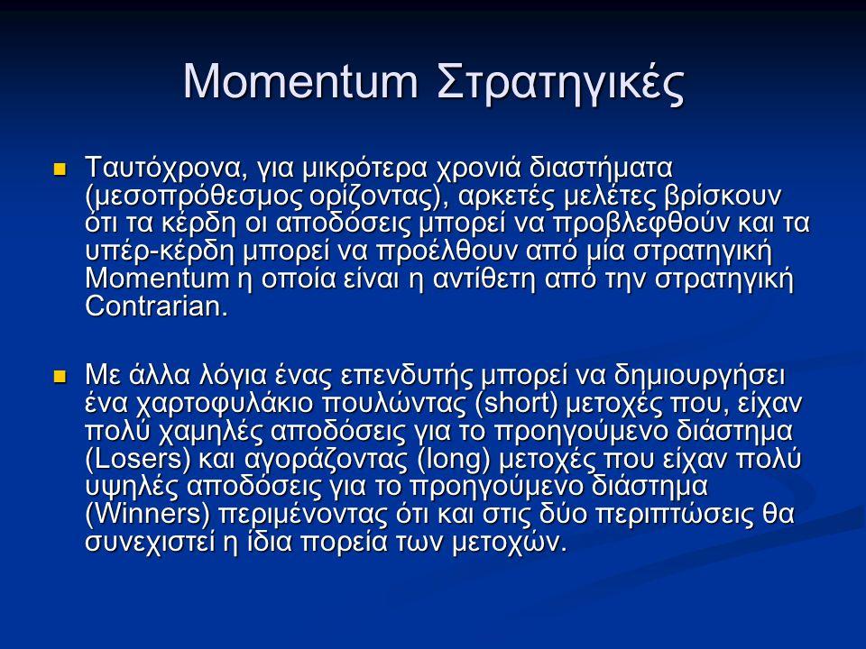 Momentum Στρατηγικές Ταυτόχρονα, για μικρότερα χρονιά διαστήματα (μεσοπρόθεσμος ορίζοντας), αρκετές μελέτες βρίσκουν ότι τα κέρδη οι αποδόσεις μπορεί να προβλεφθούν και τα υπέρ-κέρδη μπορεί να προέλθουν από μία στρατηγική Momentum η οποία είναι η αντίθετη από την στρατηγική Contrarian.