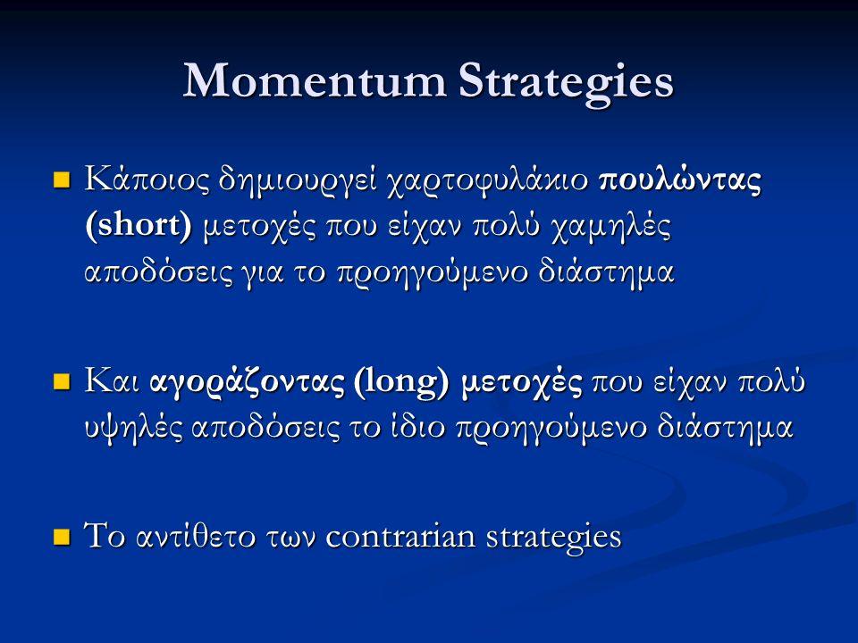 Momentum Strategies Κάποιος δημιουργεί χαρτοφυλάκιο πουλώντας (short) μετοχές που είχαν πολύ χαμηλές αποδόσεις για το προηγούμενο διάστημα Κάποιος δημιουργεί χαρτοφυλάκιο πουλώντας (short) μετοχές που είχαν πολύ χαμηλές αποδόσεις για το προηγούμενο διάστημα Και αγοράζοντας (long) μετοχές που είχαν πολύ υψηλές αποδόσεις το ίδιο προηγούμενο διάστημα Και αγοράζοντας (long) μετοχές που είχαν πολύ υψηλές αποδόσεις το ίδιο προηγούμενο διάστημα Το αντίθετο των contrarian strategies Το αντίθετο των contrarian strategies