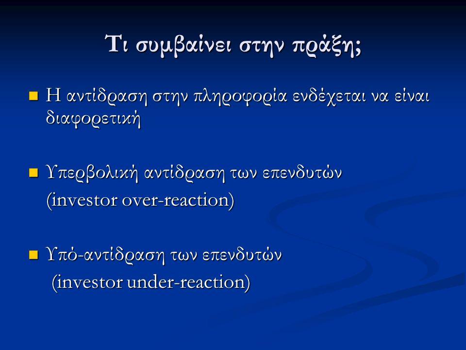 Τι συμβαίνει στην πράξη; Η αντίδραση στην πληροφορία ενδέχεται να είναι διαφορετική Η αντίδραση στην πληροφορία ενδέχεται να είναι διαφορετική Υπερβολική αντίδραση των επενδυτών Υπερβολική αντίδραση των επενδυτών (investor over-reaction) Υπό-αντίδραση των επενδυτών Υπό-αντίδραση των επενδυτών (investor under-reaction) (investor under-reaction)