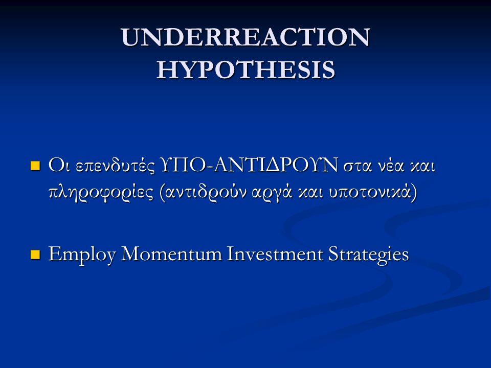 UNDERREACTION HYPOTHESIS Οι επενδυτές ΥΠO-ΑΝΤΙΔΡΟΥΝ στα νέα και πληροφορίες (αντιδρούν αργά και υποτονικά) Οι επενδυτές ΥΠO-ΑΝΤΙΔΡΟΥΝ στα νέα και πληροφορίες (αντιδρούν αργά και υποτονικά) Employ Momentum Investment Strategies Employ Momentum Investment Strategies