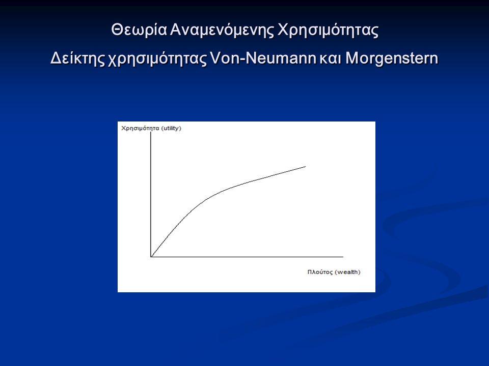 Θεωρία Αναμενόμενης Χρησιμότητας Δείκτης χρησιμότητας Von-Neumann και Morgenstern