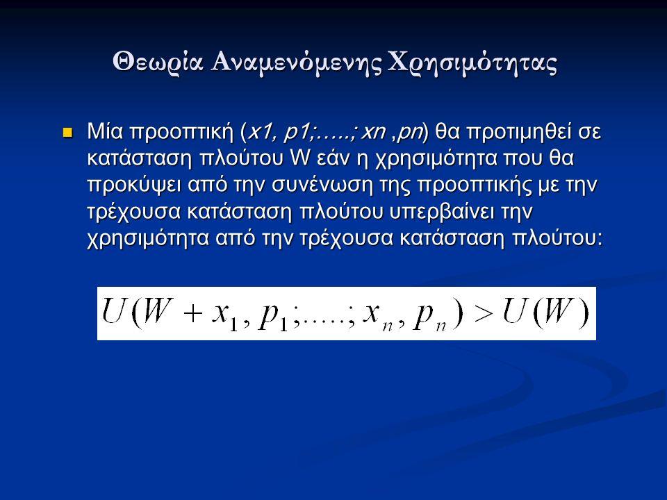 Θεωρία Αναμενόμενης Χρησιμότητας Μία προοπτική (x1, p1;…..; xn,pn) θα προτιμηθεί σε κατάσταση πλούτου W εάν η χρησιμότητα που θα προκύψει από την συνένωση της προοπτικής με την τρέχουσα κατάσταση πλούτου υπερβαίνει την χρησιμότητα από την τρέχουσα κατάσταση πλούτου: Μία προοπτική (x1, p1;…..; xn,pn) θα προτιμηθεί σε κατάσταση πλούτου W εάν η χρησιμότητα που θα προκύψει από την συνένωση της προοπτικής με την τρέχουσα κατάσταση πλούτου υπερβαίνει την χρησιμότητα από την τρέχουσα κατάσταση πλούτου: