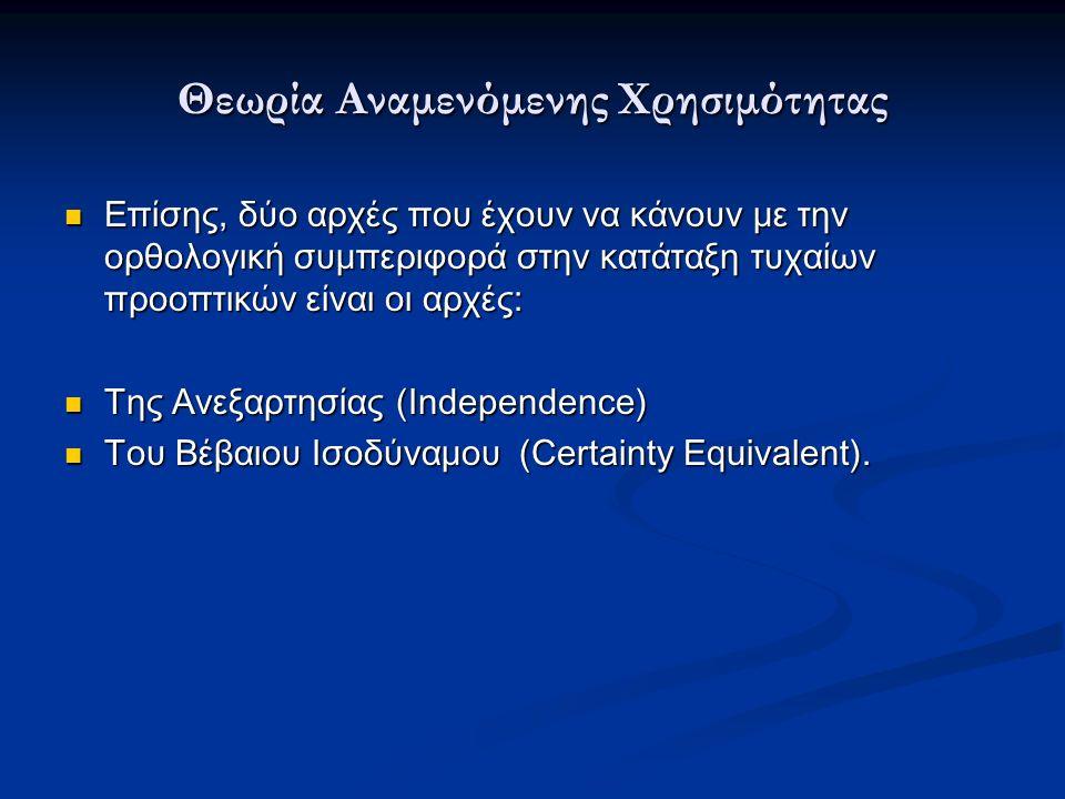 Θεωρία Αναμενόμενης Χρησιμότητας Επίσης, δύο αρχές που έχουν να κάνουν με την ορθολογική συμπεριφορά στην κατάταξη τυχαίων προοπτικών είναι οι αρχές: Επίσης, δύο αρχές που έχουν να κάνουν με την ορθολογική συμπεριφορά στην κατάταξη τυχαίων προοπτικών είναι οι αρχές: Της Ανεξαρτησίας (Independence) Της Ανεξαρτησίας (Independence) Του Βέβαιου Ισοδύναμου (Certainty Equivalent).