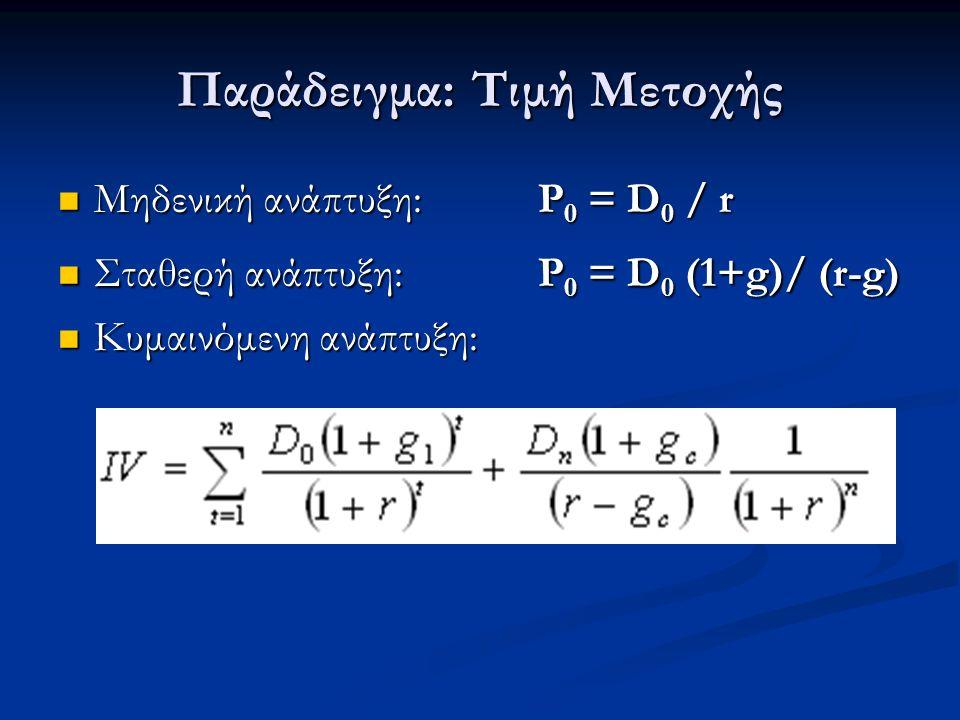 Παράδειγμα: Τιμή Μετοχής Μηδενική ανάπτυξη: P 0 = D 0 / r Μηδενική ανάπτυξη: P 0 = D 0 / r Σταθερή ανάπτυξη:P 0 = D 0 (1+g)/ (r-g) Σταθερή ανάπτυξη:P 0 = D 0 (1+g)/ (r-g) Κυμαινόμενη ανάπτυξη: Κυμαινόμενη ανάπτυξη: