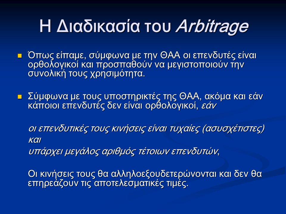 Η Διαδικασία του Arbitrage Όπως είπαμε, σύμφωνα με την ΘΑΑ οι επενδυτές είναι ορθολογικοί και προσπαθούν να μεγιστοποιούν την συνολική τους χρησιμότητα.