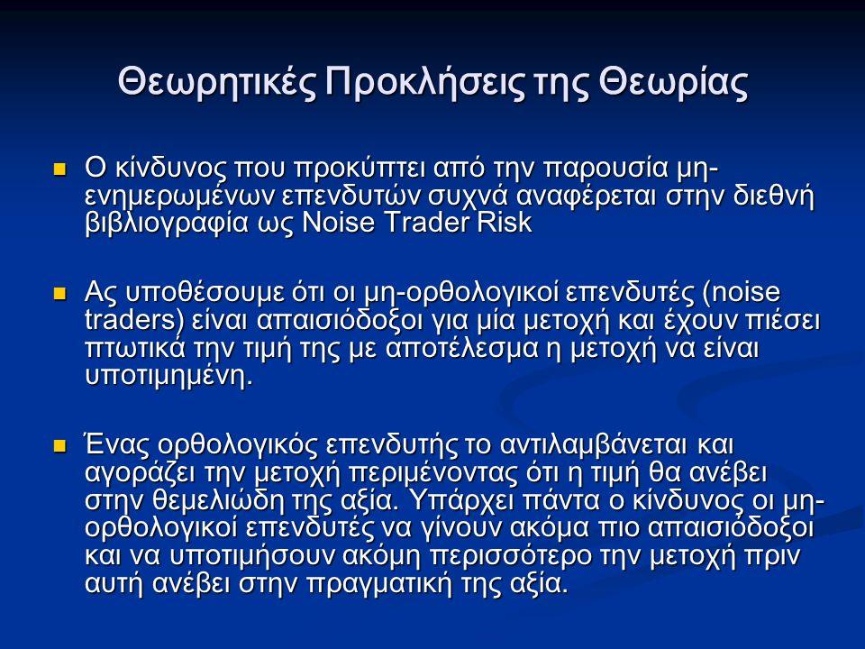 Θεωρητικές Προκλήσεις της Θεωρίας Ο κίνδυνος που προκύπτει από την παρουσία μη- ενημερωμένων επενδυτών συχνά αναφέρεται στην διεθνή βιβλιογραφία ως Noise Trader Risk Ο κίνδυνος που προκύπτει από την παρουσία μη- ενημερωμένων επενδυτών συχνά αναφέρεται στην διεθνή βιβλιογραφία ως Noise Trader Risk Ας υποθέσουμε ότι οι μη-ορθολογικοί επενδυτές (noise traders) είναι απαισιόδοξοι για μία μετοχή και έχουν πιέσει πτωτικά την τιμή της με αποτέλεσμα η μετοχή να είναι υποτιμημένη.