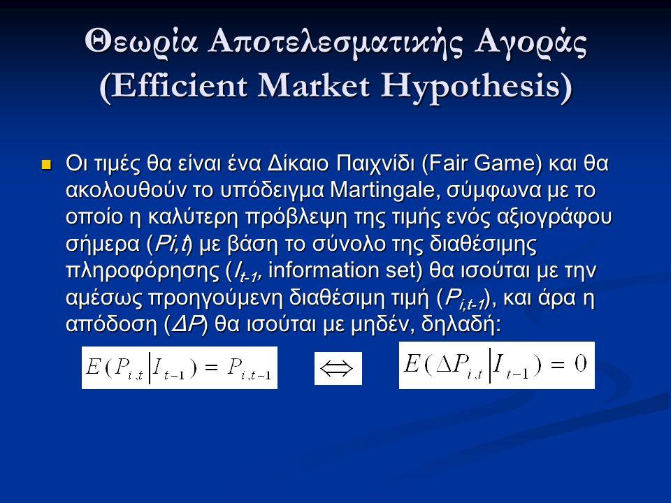 Θεωρία Αποτελεσματικής Αγοράς (Efficient Market Hypothesis) Οι τιμές θα είναι ένα Δίκαιο Παιχνίδι (Fair Game) και θα ακολουθούν το υπόδειγμα Martingale, σύμφωνα με το οποίο η καλύτερη πρόβλεψη της τιμής ενός αξιογράφου σήμερα (Pi,t) με βάση το σύνολο της διαθέσιμης πληροφόρησης (I t-1, information set) θα ισούται με την αμέσως προηγούμενη διαθέσιμη τιμή (P i,t-1 ), και άρα η απόδοση (ΔΡ) θα ισούται με μηδέν, δηλαδή: Οι τιμές θα είναι ένα Δίκαιο Παιχνίδι (Fair Game) και θα ακολουθούν το υπόδειγμα Martingale, σύμφωνα με το οποίο η καλύτερη πρόβλεψη της τιμής ενός αξιογράφου σήμερα (Pi,t) με βάση το σύνολο της διαθέσιμης πληροφόρησης (I t-1, information set) θα ισούται με την αμέσως προηγούμενη διαθέσιμη τιμή (P i,t-1 ), και άρα η απόδοση (ΔΡ) θα ισούται με μηδέν, δηλαδή: