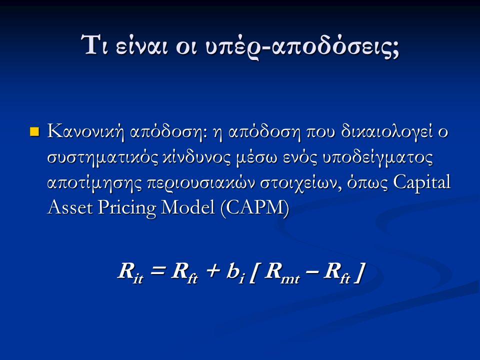 Τι είναι οι υπέρ-αποδόσεις; Κανονική απόδοση: η απόδοση που δικαιολογεί ο συστηματικός κίνδυνος μέσω ενός υποδείγματος αποτίμησης περιουσιακών στοιχείων, όπως Capital Asset Pricing Model (CAPM) Κανονική απόδοση: η απόδοση που δικαιολογεί ο συστηματικός κίνδυνος μέσω ενός υποδείγματος αποτίμησης περιουσιακών στοιχείων, όπως Capital Asset Pricing Model (CAPM) R it = R ft + b i [ R mt – R ft ]