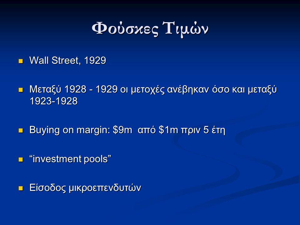 Φούσκες Τιμών Wall Street, 1929 Wall Street, 1929 Μεταξύ 1928 - 1929 οι μετοχές ανέβηκαν όσο και μεταξύ 1923-1928 Μεταξύ 1928 - 1929 οι μετοχές ανέβηκαν όσο και μεταξύ 1923-1928 Buying on margin: $9m από $1m πριν 5 έτη Buying on margin: $9m από $1m πριν 5 έτη investment pools investment pools Είσοδος μικροεπενδυτών Είσοδος μικροεπενδυτών