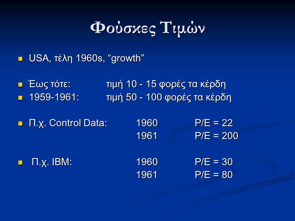 Φούσκες Τιμών USA, τέλη 1960s, growth USA, τέλη 1960s, growth Έως τότε: τιμή 10 - 15 φορές τα κέρδη Έως τότε: τιμή 10 - 15 φορές τα κέρδη 1959-1961: τιμή 50 - 100 φορές τα κέρδη 1959-1961: τιμή 50 - 100 φορές τα κέρδη Π.χ.