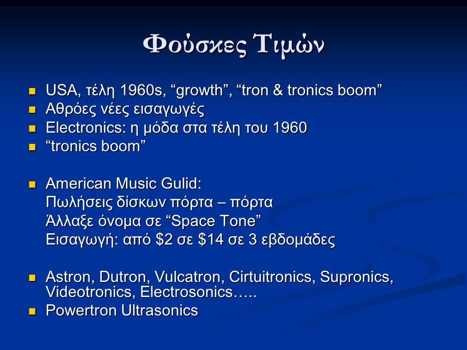 Φούσκες Τιμών USA, τέλη 1960s, growth , tron & tronics boom USA, τέλη 1960s, growth , tron & tronics boom Αθρόες νέες εισαγωγές Αθρόες νέες εισαγωγές Electronics: η μόδα στα τέλη του 1960 Electronics: η μόδα στα τέλη του 1960 tronics boom tronics boom American Music Gulid: American Music Gulid: Πωλήσεις δίσκων πόρτα – πόρτα Άλλαξε όνομα σε Space Tone Εισαγωγή: από $2 σε $14 σε 3 εβδομάδες Astron, Dutron, Vulcatron, Cirtuitronics, Supronics, Videotronics, Electrosonics…..