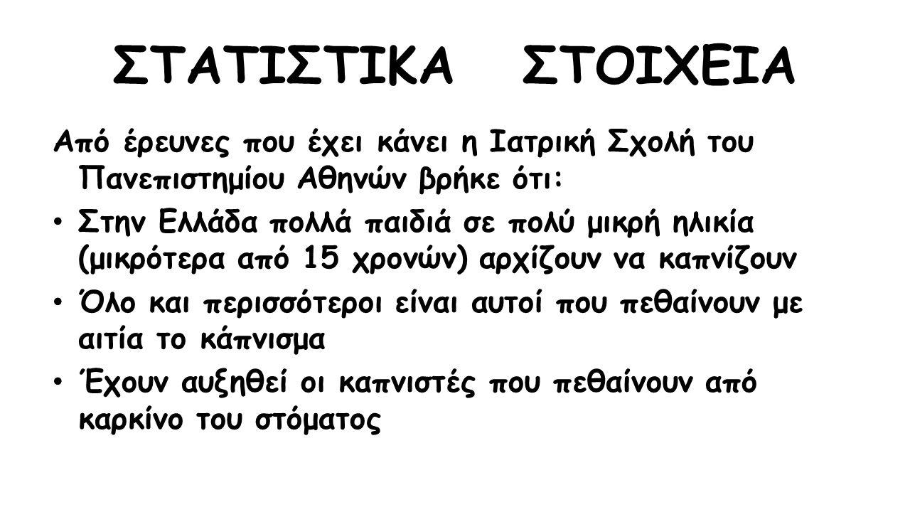 ΣΤΑΤΙΣΤΙΚΑ ΣΤΟΙΧΕΙΑ Από έρευνες που έχει κάνει η Ιατρική Σχολή του Πανεπιστημίου Αθηνών βρήκε ότι: Στην Ελλάδα πολλά παιδιά σε πολύ μικρή ηλικία (μικρότερα από 15 χρονών) αρχίζουν να καπνίζουν Όλο και περισσότεροι είναι αυτοί που πεθαίνουν με αιτία το κάπνισμα Έχουν αυξηθεί οι καπνιστές που πεθαίνουν από καρκίνο του στόματος