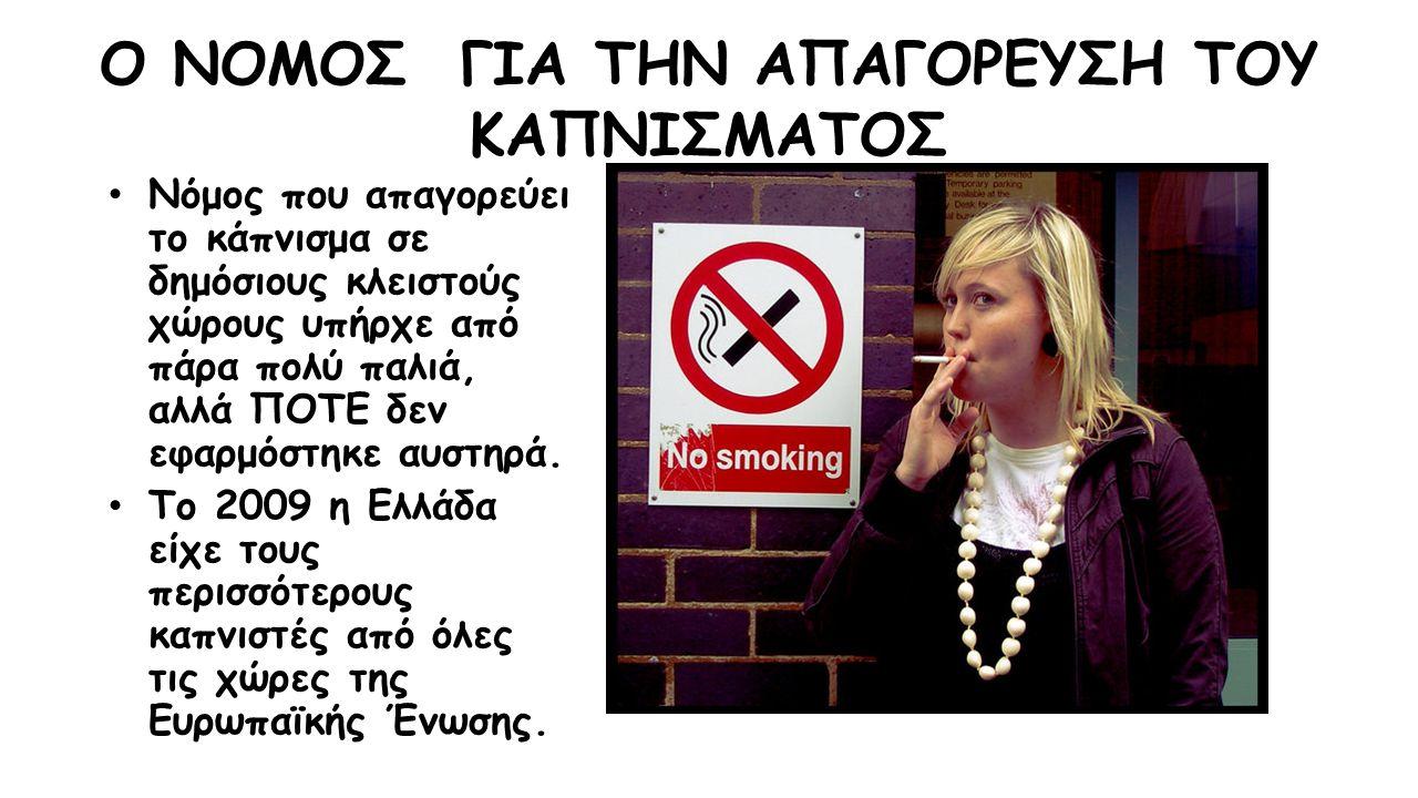 Ο ΝΟΜΟΣ ΓΙΑ ΤΗΝ ΑΠΑΓΟΡΕΥΣΗ ΤΟΥ ΚΑΠΝΙΣΜΑΤΟΣ Νόμος που απαγορεύει το κάπνισμα σε δημόσιους κλειστούς χώρους υπήρχε από πάρα πολύ παλιά, αλλά ΠΟΤΕ δεν εφαρμόστηκε αυστηρά.