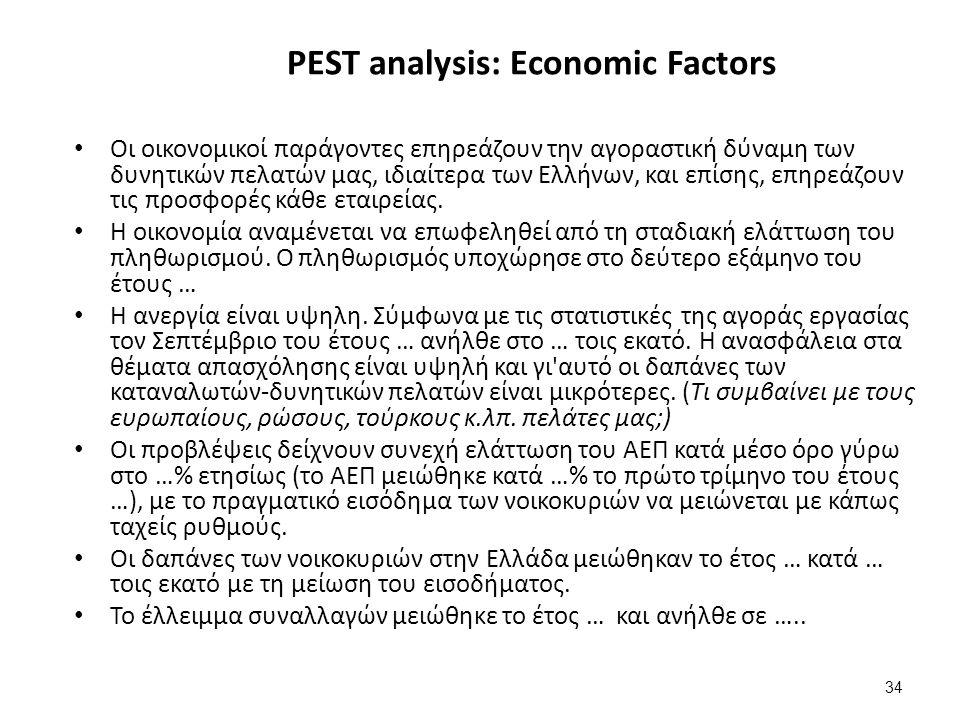 34 PEST analysis: Economic Factors Οι οικονομικοί παράγοντες επηρεάζουν την αγοραστική δύναμη των δυνητικών πελατών μας, ιδιαίτερα των Ελλήνων, και επίσης, επηρεάζουν τις προσφορές κάθε εταιρείας.