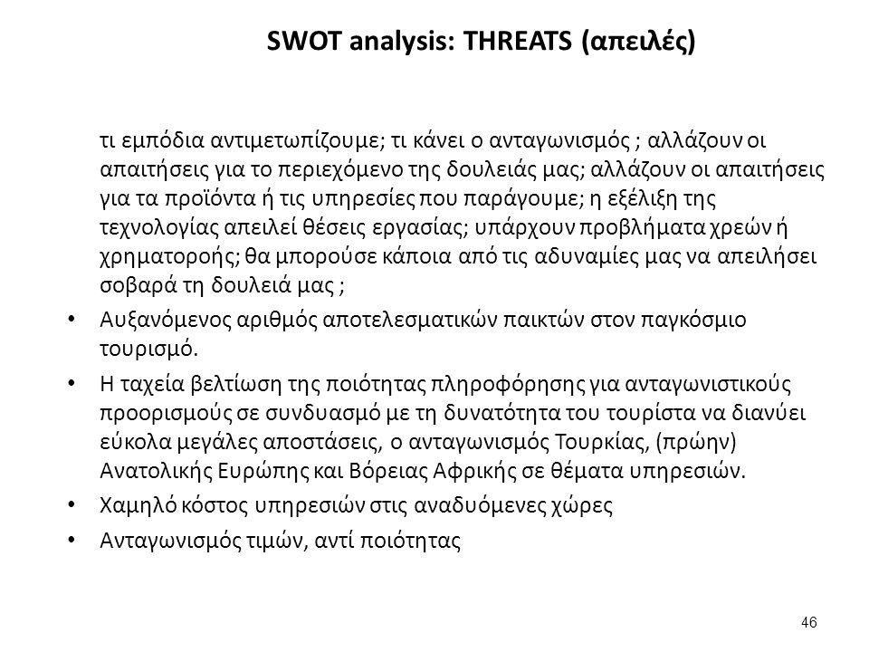 46 SWOT analysis: THREATS (απειλές) τι εμπόδια αντιμετωπίζουμε; τι κάνει ο ανταγωνισμός ; αλλάζουν οι απαιτήσεις για το περιεχόμενο της δουλειάς μας; αλλάζουν οι απαιτήσεις για τα προϊόντα ή τις υπηρεσίες που παράγουμε; η εξέλιξη της τεχνολογίας απειλεί θέσεις εργασίας; υπάρχουν προβλήματα χρεών ή χρηματοροής; θα μπορούσε κάποια από τις αδυναμίες μας να απειλήσει σοβαρά τη δουλειά μας ; Αυξανόμενος αριθμός αποτελεσματικών παικτών στον παγκόσμιο τουρισμό.