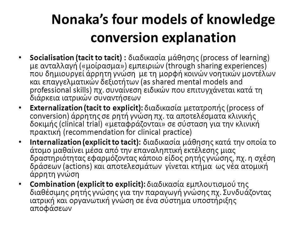 Nonaka's four models of knowledge conversion explanation Socialisation (tacit to tacit) : διαδικασία μάθησης (process of learning) με ανταλλαγή («μοίρασμα») εμπειριών (through sharing experiences) που δημιουργεί άρρητη γνώση με τη μορφή κοινών νοητικών μοντέλων και επαγγελματικών δεξιοτήτων (as shared mental models and professional skills) πχ.
