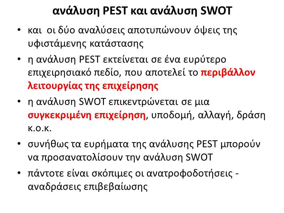και οι δύο αναλύσεις αποτυπώνουν όψεις της υφιστάμενης κατάστασης η ανάλυση PEST εκτείνεται σε ένα ευρύτερο επιχειρησιακό πεδίο, που αποτελεί το περιβάλλον λειτουργίας της επιχείρησης η ανάλυση SWOT επικεντρώνεται σε μια συγκεκριμένη επιχείρηση, υποδομή, αλλαγή, δράση κ.ο.κ.