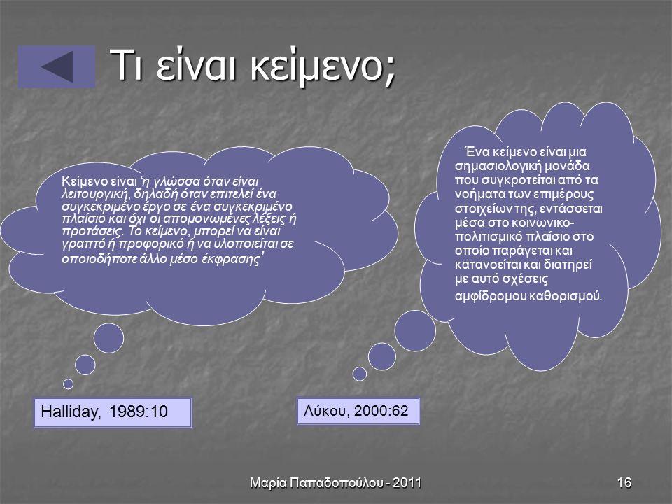 Μαρία Παπαδοπούλου - 201116 Τι είναι κείμενο; Κείμενο είναι 'η γλώσσα όταν είναι λειτουργική, δηλαδή όταν επιτελεί ένα συγκεκριμένο έργο σε ένα συγκεκριμένο πλαίσιο και όχι οι απομονωμένες λέξεις ή προτάσεις.