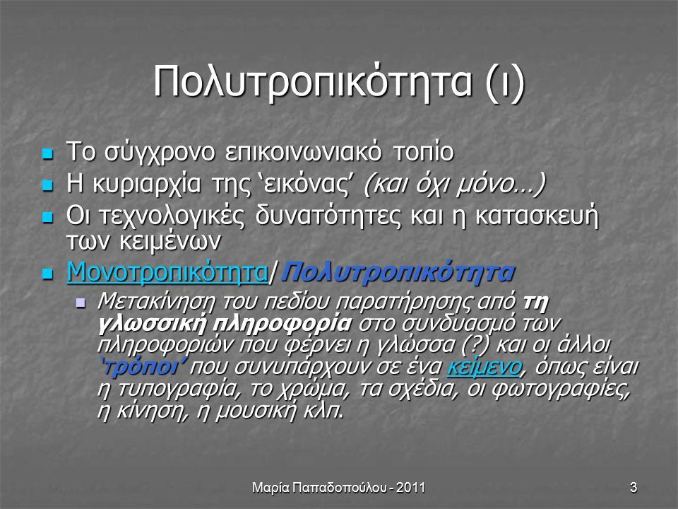 Μαρία Παπαδοπούλου - 20114 Πολυτροπικότητα (ΙΙ) Σχέσεις των διαφόρων τρόπων ενός κειμένου (συμπληρωματικότητα, επαύξηση, αναίρεση της πληροφορίας) (διαφήμιση) Σχέσεις των διαφόρων τρόπων ενός κειμένου (συμπληρωματικότητα, επαύξηση, αναίρεση της πληροφορίας) (διαφήμιση) Πηγές νοηματοδότησης σε: Πηγές νοηματοδότησης σε: Έντυπα κείμενα Έντυπα κείμενα Έντυπα κείμενα Έντυπα κείμενα Ψηφιακά κείμενα Ψηφιακά κείμενα Ψηφιακά κείμενα Ψηφιακά κείμενα
